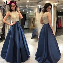 Royal Blue Special Occasion Dresses Lace Appliques Vestido De Noche O-neck Evening Dress Party Prom Gowns ES2625