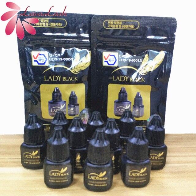 10 flaschen schwarz Dame kleber wimpern extensions Mit Original Tasche geringe reizung schnell trocknende für empfindliche haut Falsche wimpern kleber