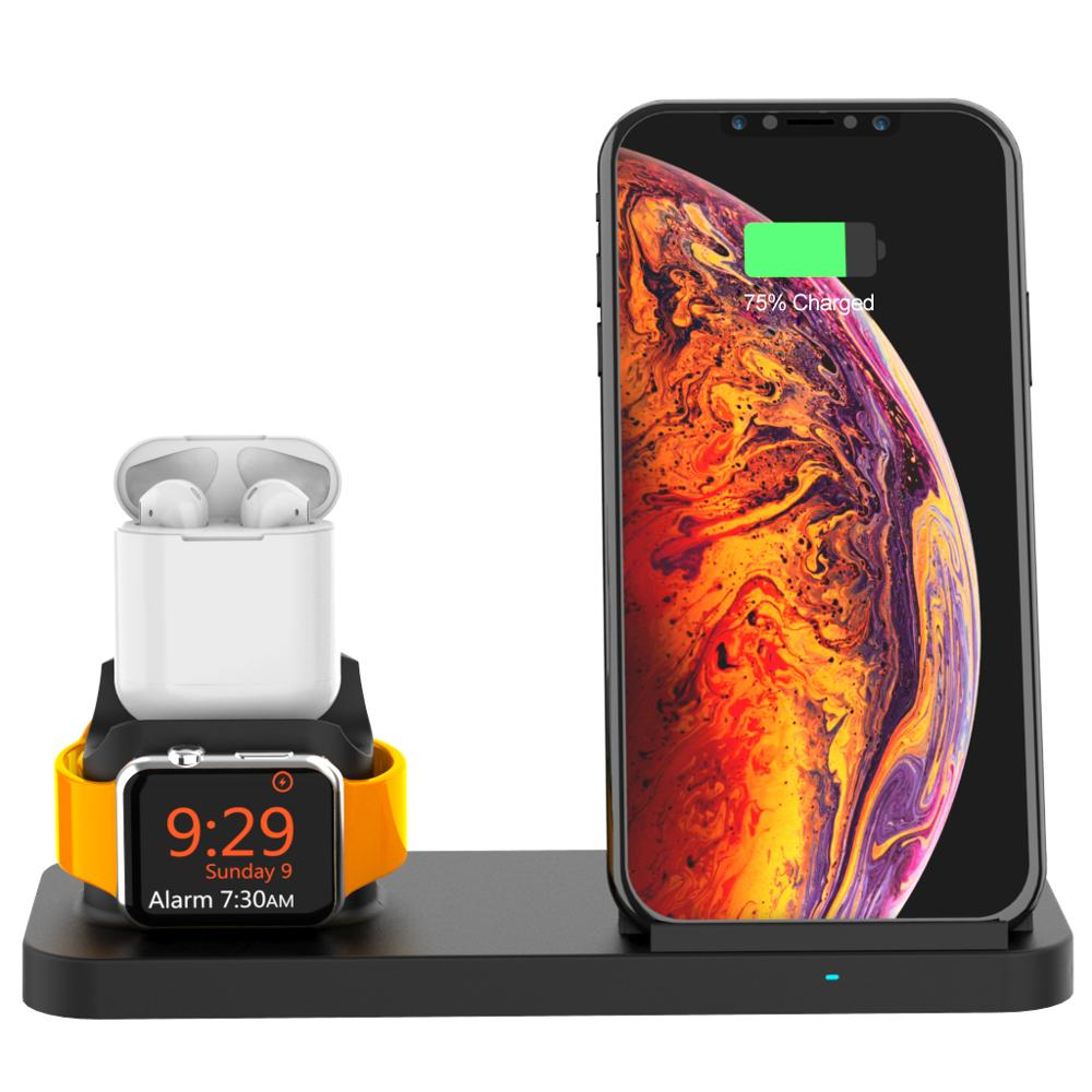 Image 2 - Goldfox 10W Fast Wireless Charger for iphone Samsung Qi wireless Charging stand for Airpods apple watch 4 3 2 1 charger holder-in Wireless Chargers from Cellphones & Telecommunications