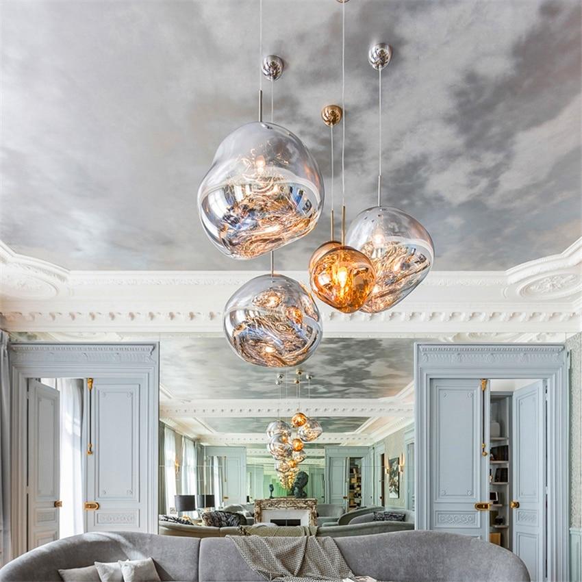 Modern LED Pendant Light Glass Lava Luminaire Silver Red Simple Hanging Lamp Living Room De Pendant Lamp Light Fixture