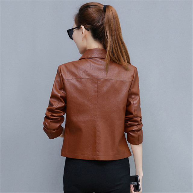 Leather Jacket Women Caramel 3XL 4XL Plus Size Short Slim PU Coat 2019 New Spring Autumn Korean Fashion Chic Moto Clothing LD855