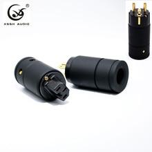 XSSH Audio Grade Black Metal Shell Gold Plated Pure Copper High Performance Female Male 3 wire Grounding US EU IEC AC power plug