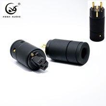 XSSH Audio Grade Schwarz Metall Shell Vergoldet Reinem Kupfer Hohe Leistung Weiblich Männlich 3 draht Erdung UNS EU IEC AC power stecker