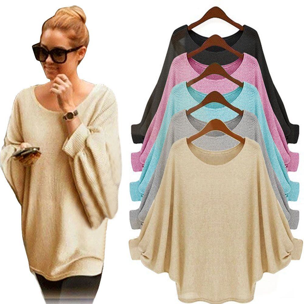 Women's Sweater New Batwing Sleeve Round Neck Solid Color Autumn Winter Fashion Casual Daily Warm Loose Comfortable Jumper #S