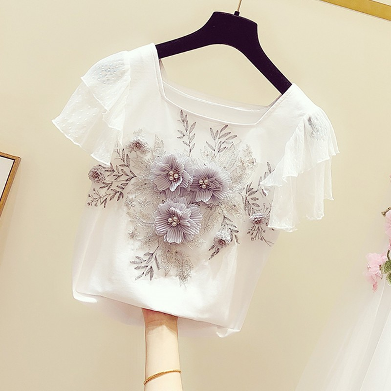 2020 Spring Summer New Sweet Beaded Flower Embroidered Square Neck Ruffle Sleeve T-shirt Women's Casual Tshirt T Shirts Girls