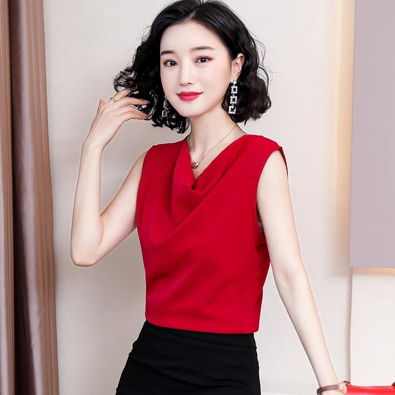 Korean Women Blouses Elegant Woman Satin Blouse Shirt Plus Size Tops Woman Sleeveless V Neck Blusas Mujer De Moda Camisas Mujer