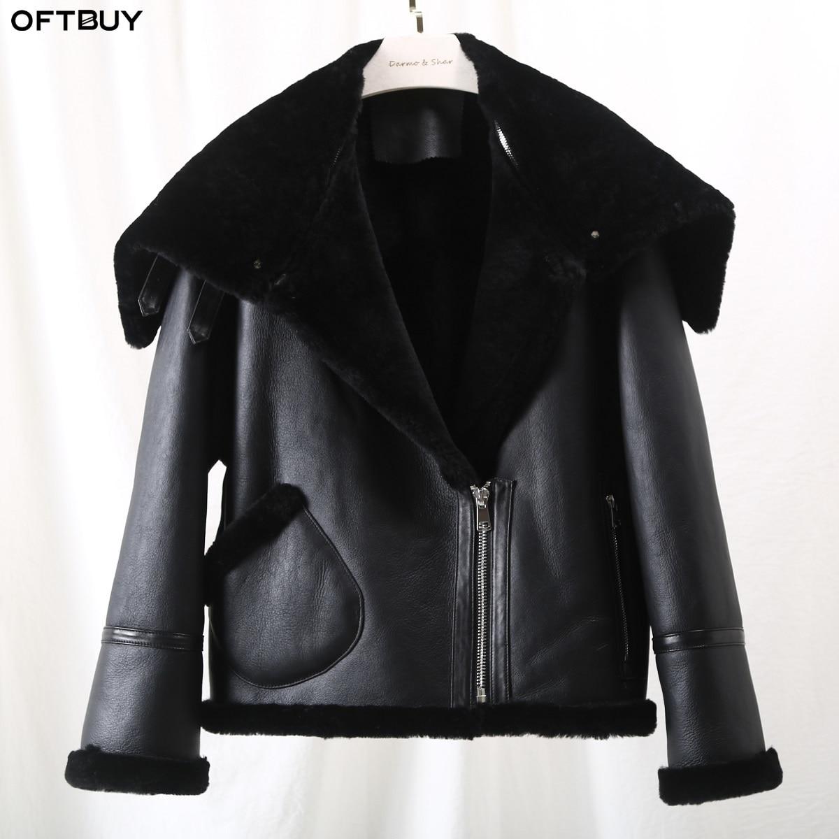 OFTBUY 2019 Winter Jacket Women Double-faced Fur Coat Parka Real Lamb Fur Genuine Leather Thick Warm Streetwear Outwear Casual