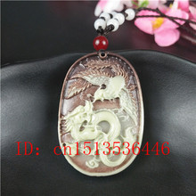 Fashion-Accessories Necklace Phoenix Pendant Dragon Natural Jade Jewellery Charm Lucky Amulet
