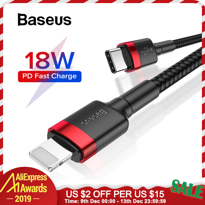 Baseus 18W Type C Cable for iPhone 11 Pro Max USB C PD Fast Charge Data Cable for iPhone Xr 8 Macbook Pro Charger Wire USB Cord-in Mobile Phone Cables from Cellphones & Telecommunications on AliExpress
