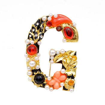 CINDY XIANG Baroque Style Pearl Rhinestone Letter Brooch Alphabet Brooches for Women Design A S D M R G Good Gift sweet rhinestoned letter s pattern design triangle ring for women