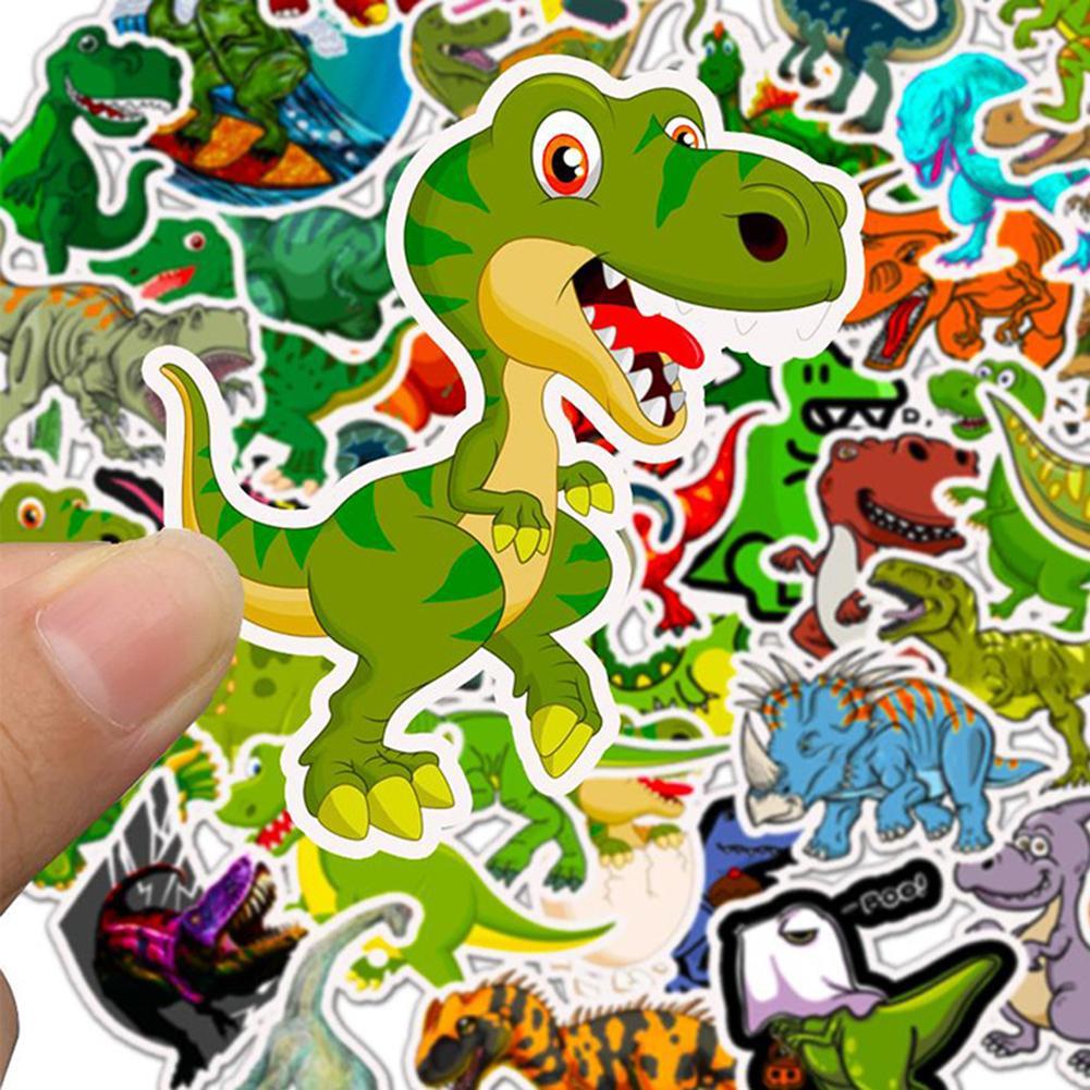 50Pcs Cartoon Dinosaur Self-Adhesive Stickers Decals Fridge Phone Luggage Decor
