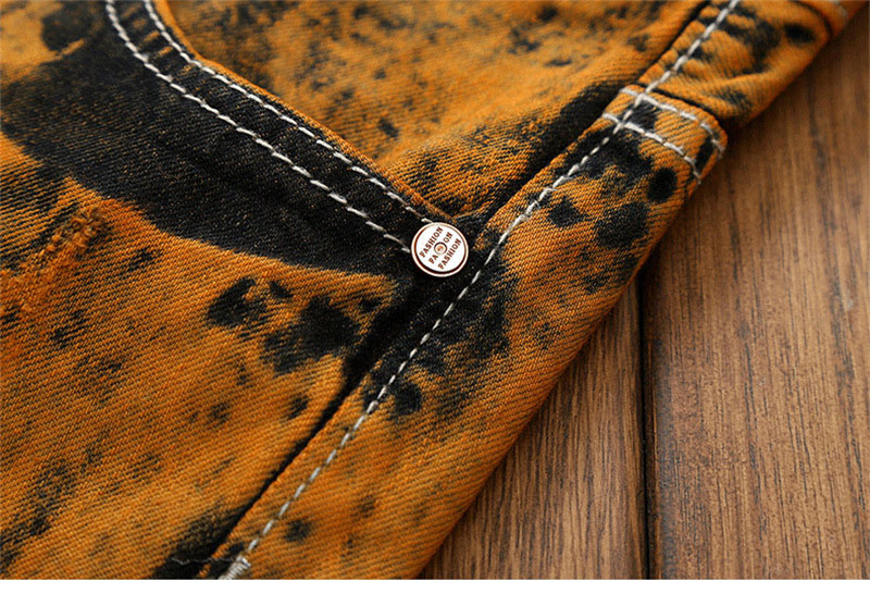 Hot Holes Scratched Men`s Jeans Vintage Embroidery Stitched Moustache Printed Teens Youth Boys Straight Denim Trousers Pants (9)