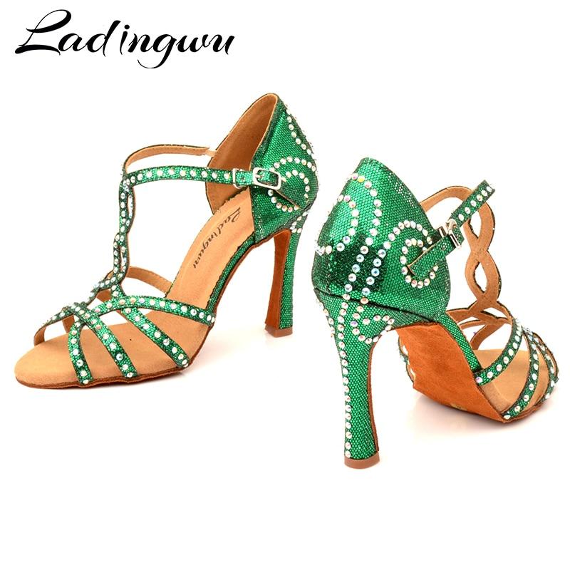 Ladingwu Women Latin Dance Shoes Green Flash Cloth Dance Shoes Lady Rhinestone Ballroom Salsa Tango Dance Shoes Professional