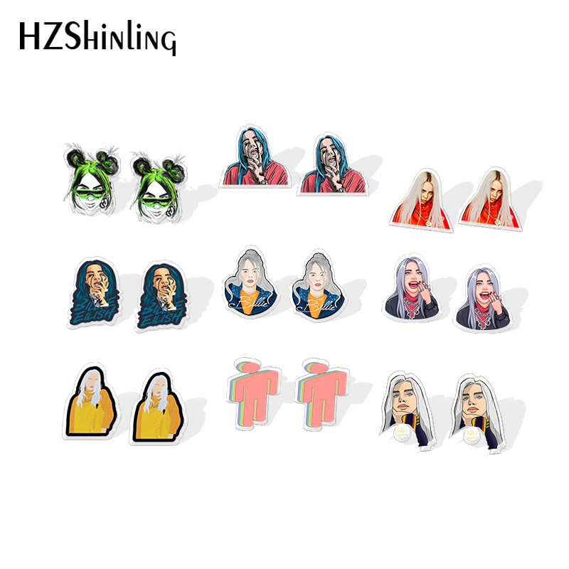 2019 New Hip-Hop Billie Eilish Acrylic Earring Music Singer Stud Earrings Epoxy Earring Funny Jewelry