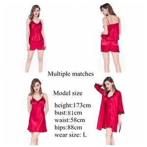 Image 3 - JULYS SONG Conjunto de pijama Sexy de 4 piezas para mujer, bata de seda de imitación, pantalones cortos con tirantes de encaje, ropa de dormir con almohadillas en el pecho