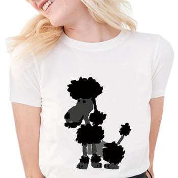 Funny poodle artsy tshirt Women Soft Cotton Cute Tops animal print White T Shirts Kawaii Dog graphic tees women shirts image