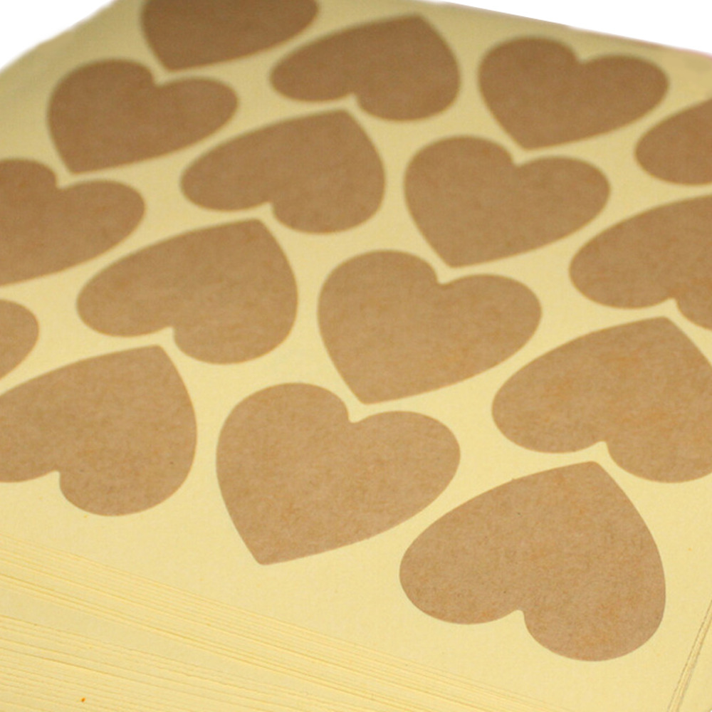 120pcs/10 sheet Heart Shape Kraft Paper Adhesive Label  Sticker Seal Labels, Candy Biscuits Dessert Bags Envelope Packaging-5