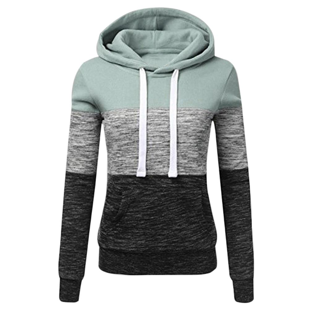Sweatshirts Autumn Winter Hoodies Long Sleeve Hoody Ladies Zipper Pocket Patchwork Hooded Sweatshirt Female Outwear