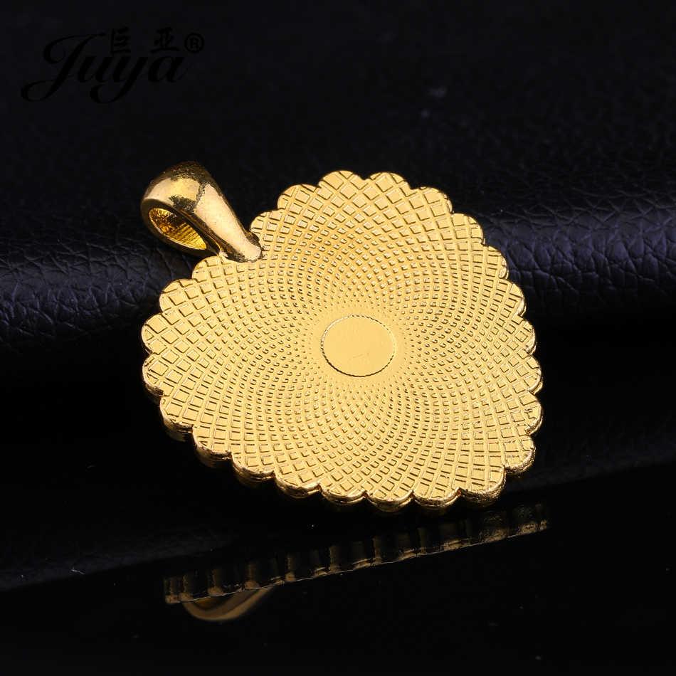 JUYA Hati Cabochon Pesona Liontin Tray dengan Berlian Imitasi untuk Kalung Buatan Tangan Aksesoris 25Mm 3Pcs Liontin Dasar Cameo Pengaturan