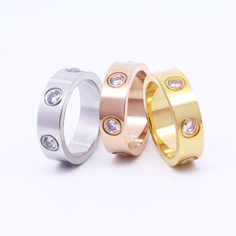 Beautiful Shiny 6 Crystal Ring For Women Titanium Steel Top Quality High Polished Love Ring Classic Brand Jewelry Drop Shipping 4