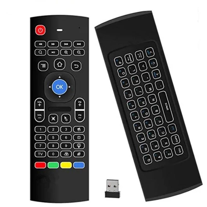 Android TV Box Wireless Remote Control Keyboard Air Mouse 2.4ghz for KODI PC TV - Black image