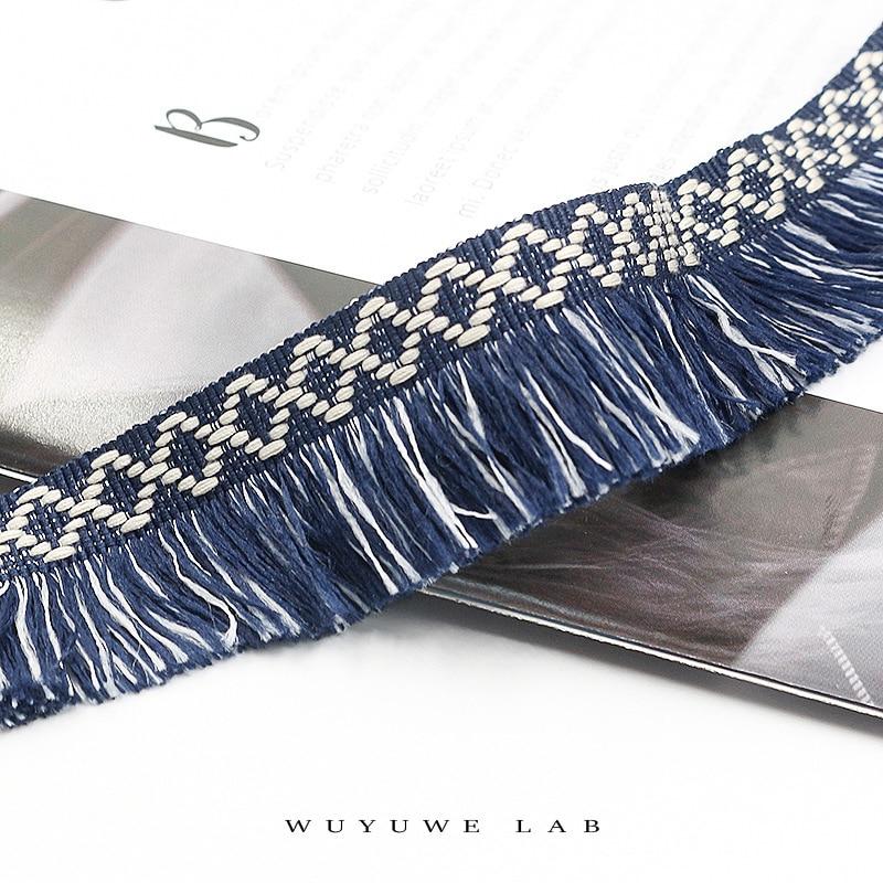 2m Bicolor Navy blue Cotton Diamond Webbing Tassel Fringe Lace Trim Lace Clothing Curtains DIY Home Accessories Tassels Lace 3cm