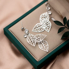 Vintage Fashion Delicate Hollow Dangle Earrings Three Leaf Pendant Beads Real 925 Sterling Silver Stud Earrings 6.3x1.3cm-1 Pair pair of delicate silver stick chain earrings for women