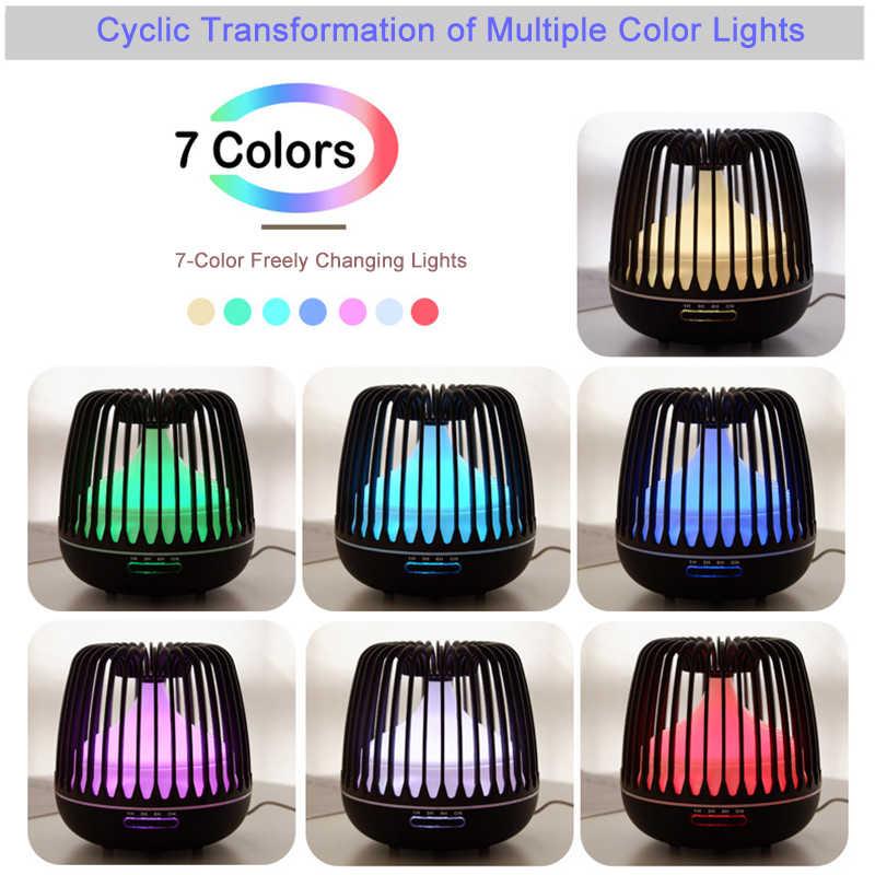 YAJIAO 500ML AROMA YAYICI uçucu yağ ultrasonik hava nemlendirici ahşap tahıl 7 renk değiştiren LED işıklar serin Mist ev için