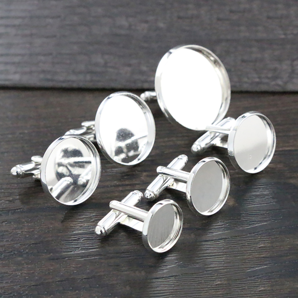 10pcs/ Lot 10mm,12mm,14mm,16mm,18mm,20mm, Bright Silver Plated Copper Cufflink Base Cuff Link Settings Cabochon Cameo Base