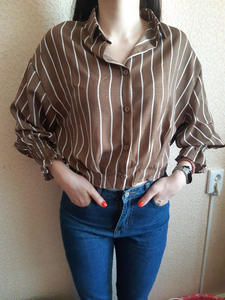 Casual Shirts Collar Classic-Style Loose Vintage Striped Women Ladies Slim-Stand Female