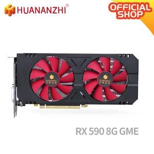 HUANANZHI RX 590 8G GME carte graphique 256Bit GDDR5 8000MHz 1380MHz HDMI + 3 * DP 14Nm 2304 unités 200W RX 590 8G GME voiture vidéo