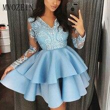 Синие Бальные платья с v-образным вырезом рукава Кружева Короткие вечерние платья выпускные платья для вечера встречи выпускников платье Vestidos Curto