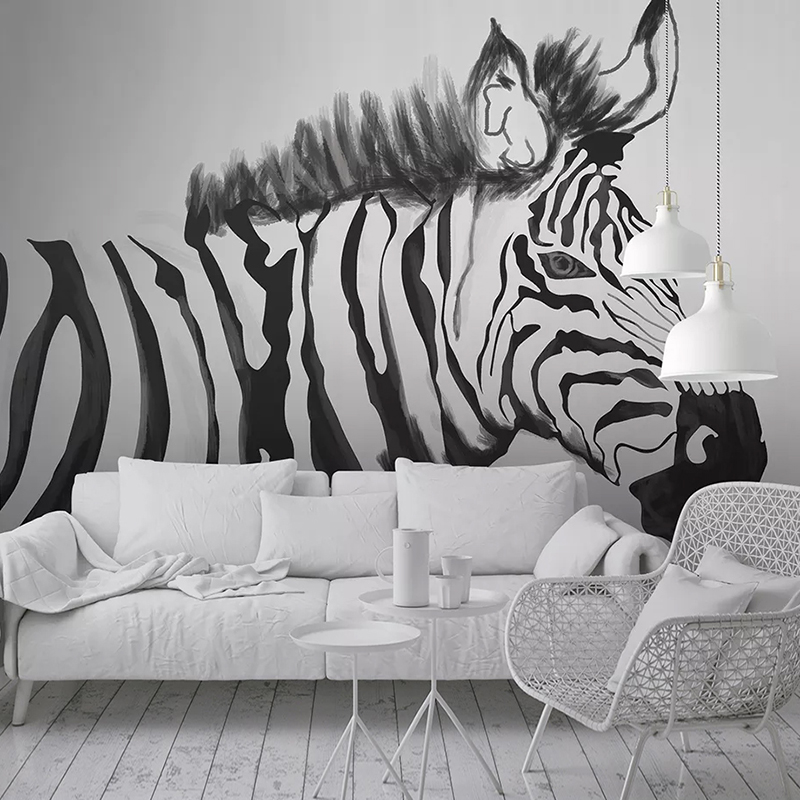 Custom Photo Wallpaper Murals Hand Painted Black White Zebra Animal Mural Bedroom Study Living Room Wall Painting Papier Peint