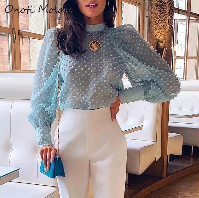 Onoti Molazo Women Top Chiffon Transparent Puff Sleeve Blouses Casual Elegant Ladies Blouse Tops Female 2019 Autumn New Fashion