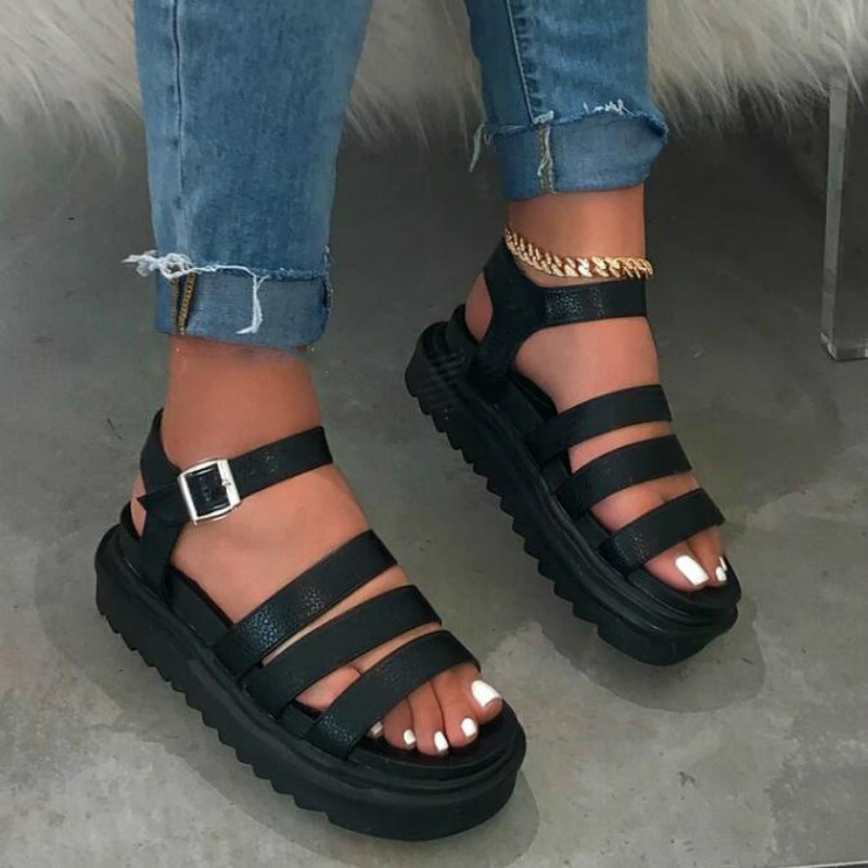 Women Summer Shoes With Platform PU Leather Wedges Female Gladiator Sandal Thick Bottom Black Brown Breathable Woman Footwear