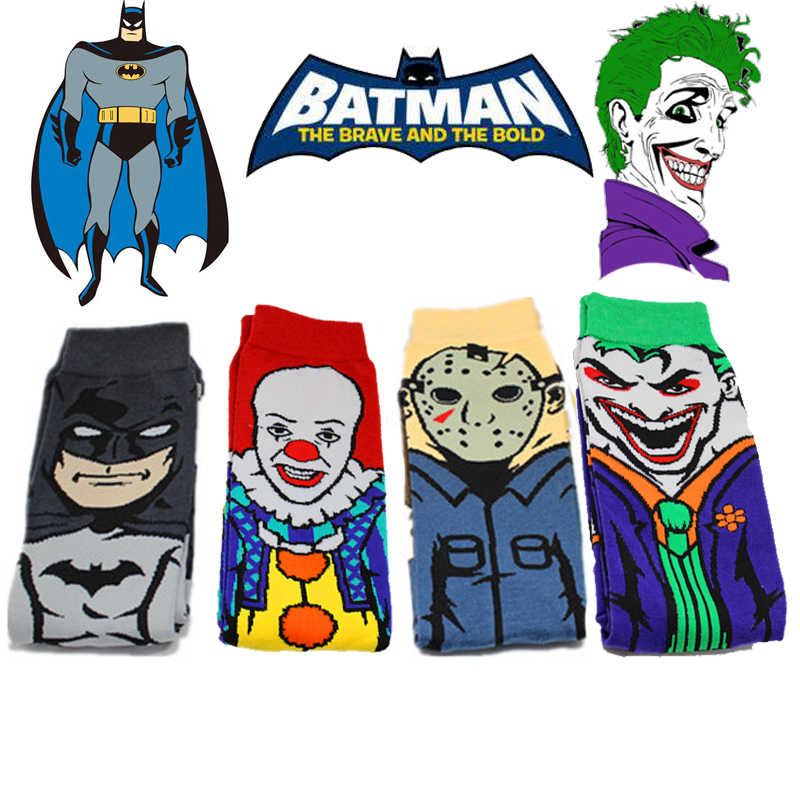 Pennywise Batman Clown Joker JASON Kaus Kaki Alat Peraga Cosplay Unisex Halloween Kartun Stephen King Itu Hari Jumat 13th Kaus Kaki