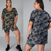 Outfits Two-Piece-Set Biker-Shorts Women And Summer 5XL Suit Tops Split Loose Camouflage-Printed