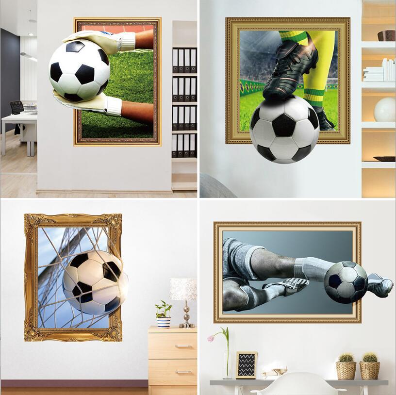 3d auto-adesivo futebol esporte adesivos de parede murais arte decalques decorador como crianças presente de aniversário fãs de futebol