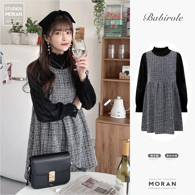 Осенне-зимняя новая Стильная молодежная модная юбка в Корейском стиле в западном стиле изящное платье кружевная подкладка