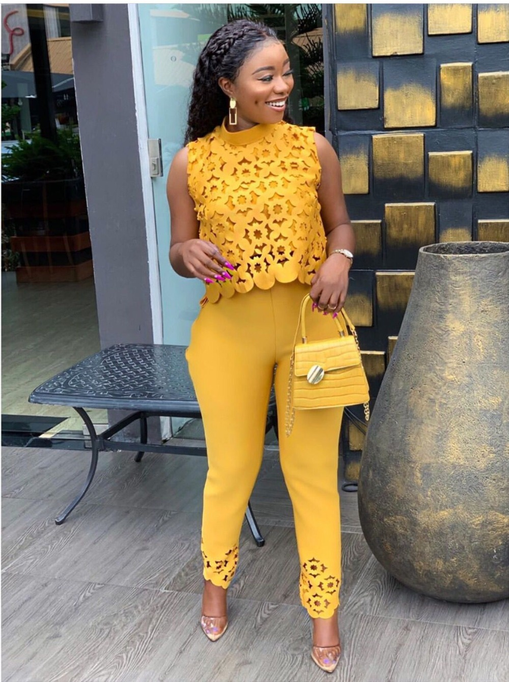 Hbed622c54170476984483d094d67f9cbf - High street yellow hollow out 2 piece set women sleeveless short top and long pants fashion female outfit LTZ008