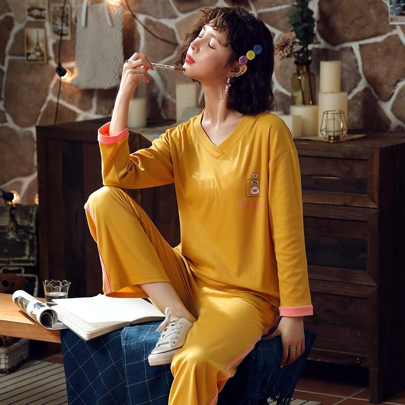 904 # Spring Pajamas WOMEN'S Suit Tracksuit 6535 Sunken Stripe M -Xxl