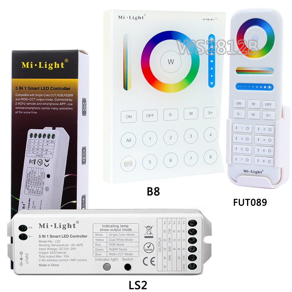 Miboxer <font><b>LS2</b></font> 5IN 1smart led <font><b>controller</b></font>; 8 Zone 2.4G wireless FUT089 remote;B8 Wall-mounted Touch Panel for RGB+CCT led strip image