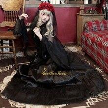 Vestido gótico negro de fantasma para mujer, Disfraces de Halloween para adultos, fiesta de Terror, Cosplay, vestido de bruja