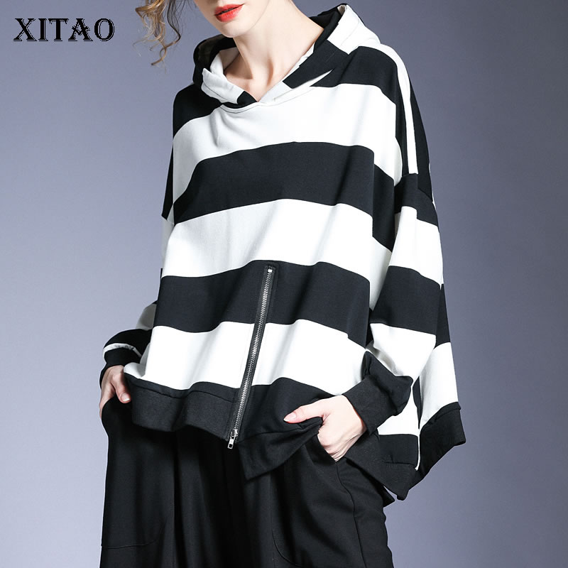 XITAO Striped Hoodies Fashion New Women Loose Pullover Elegant Small Fresh Casual Style Full Sleeve Minority Hoodies WJ1299 1