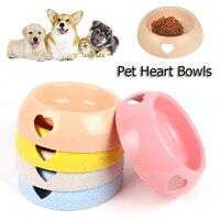 Cuencos de plástico con forma de corazón para alimentación de perros y gatos, cuencos de plástico para Alimentación de Mascotas