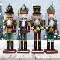 4pc/set Wood Nutcracker Soldiers Gift Hand Painting Doll New Year Christmas Decoration Gift Nutcracker Soldier Figure Kids Toys