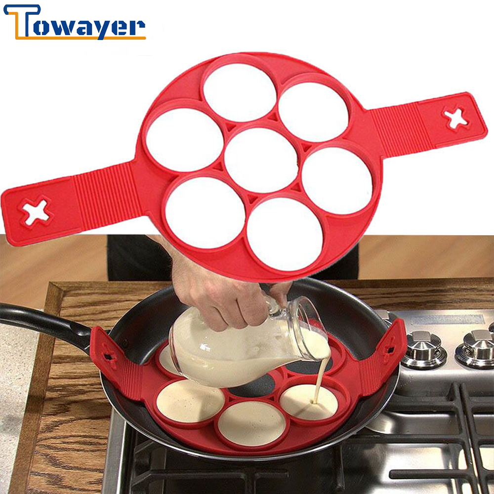 Towayer Egg Cooker Nonstick Cooking Tool Maker Egg Silicone Mold Pancake Cheese Egg Cooker Pan Flip Kitchen Baking Accessories