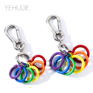 New Metal Keychain Hook Key Chain Car 1 Piece Zinc Alloy DIY Cute Style Luggage Car Key Ring Opening Ring Lesbian Gay Key Ring(China)