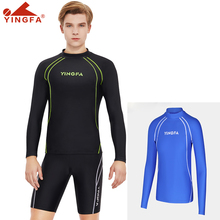 YINGFA rash guard sun protection suit swimming suit top snorkeling surfing suit jellyfish suit men's split diving suit