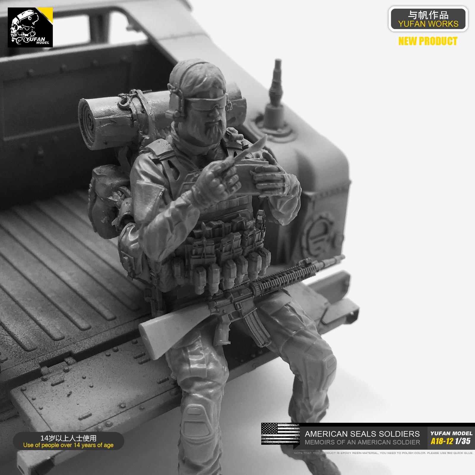 1/35 Kits de Resina Soldado Modelo (EUA Navy SEALs descansar e comer) self-assembled A18-12